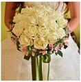 Горячая распродажа шелковый искусственные невесты руки холдинг розы свадебный букет невесты buque де noiva прямая поставка