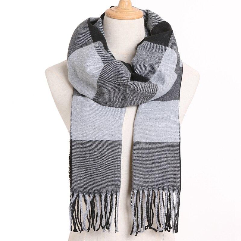 [VIANOSI] клетчатый зимний шарф женский тёплый платок одноцветные шарфы модные шарфы на каждый день кашемировые шарфы - Цвет: 07