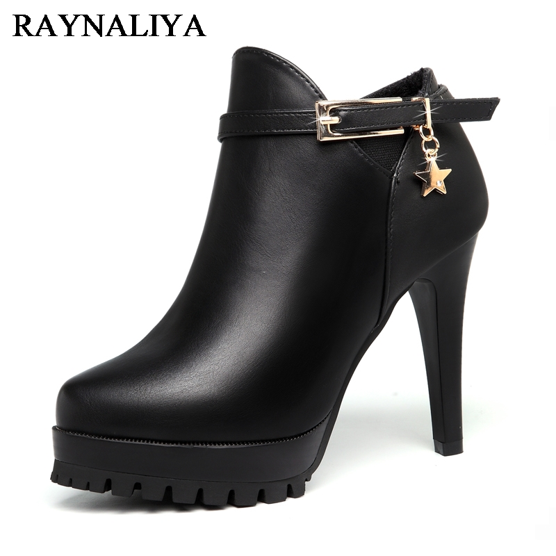 New 2018 Sexy Women Boots Fashion Platform Thin High Heels Black Ankle Boots For Woman Brand Design Ladies Shoes YG-A0082