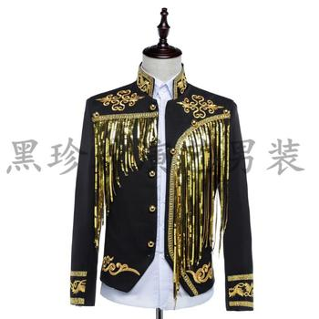 Tassel men suits designs masculino homme terno stage costumes for singers men sequin blazer dance clothes jacket style dress