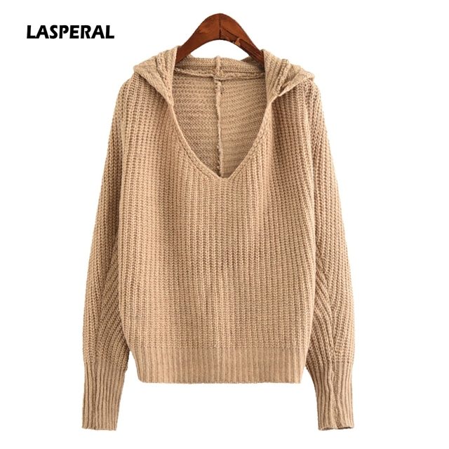 LASPERAL 2017 Autumn Women Casual Loose Sweater Long Sleeve V Neck ...