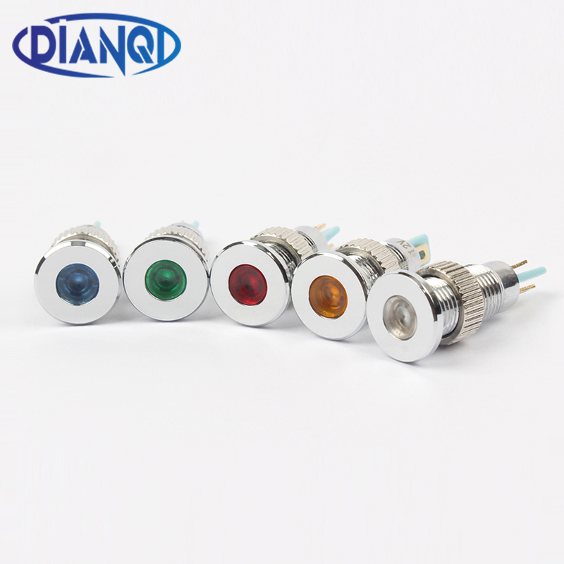 LED Metal Indicator Light 8mm Waterproof Signal Lamp 6V 12V 24V 220v Dot LIGHT Red Yellow Blue Green White 8ZSD.PY.C