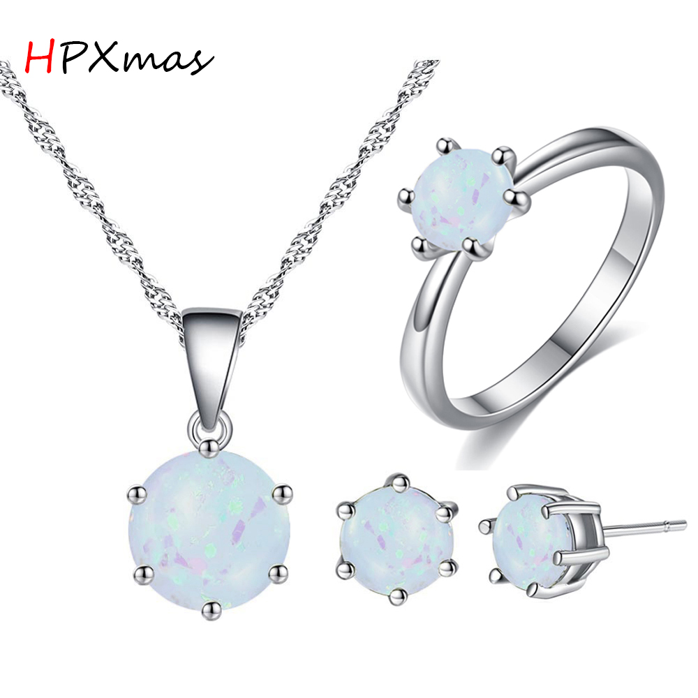HPXmas Classic Opal Earrings Ring Pendant Necklace Jewelry Sets For Women Round Ball Shape Jewelry Accessory Gift A87 in Jewelry Sets from Jewelry Accessories