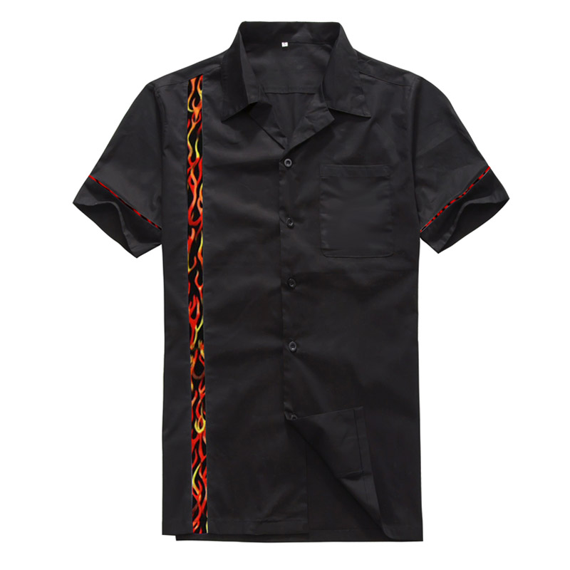 Vintage Rockabilly Shirts Men Flame Panel Fashion Clothing Cotton Short Sleeve RockNRoll Punk Shirts Big and Tall Black Summer