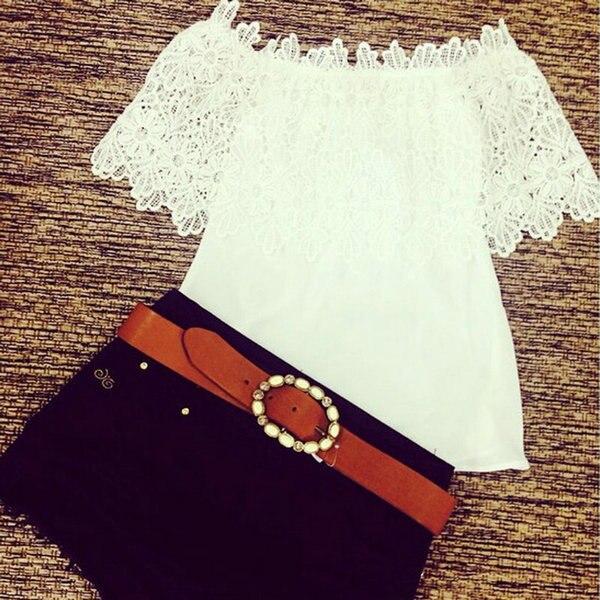 חם אופנה נשים קיץ תחרה סרוגה כבויה כתף שיפון חולצה מקרית חולצות חולצה