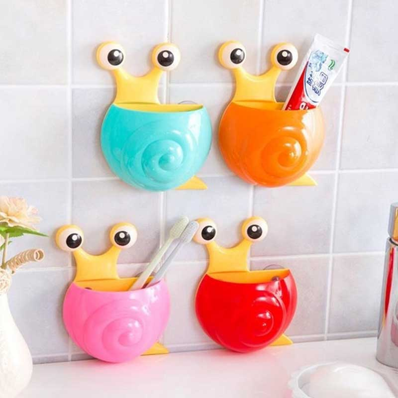 1 pc snail toothbrush holder case bathroom accessories cute cartoon sucker hook toothbrush toothpaste holder home