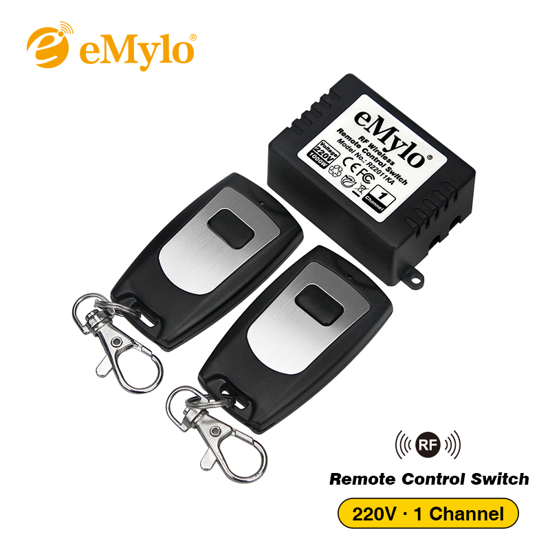 eMylo Smart Switch 433Mhz RF AC 220V 1000W 1-Channel Relay Wireless Smart Learning Remote Control Light Switch 2X Transmitter emylo 4x 220v 1000w 1channel 433mhz wireless rf realy remote control switch receiver with transmitter