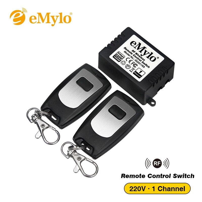 eMylo Smart Switch 433Mhz RF AC 220V 1000W 1-Channel Relay Wireless Smart Learning Remote Control Light Switch 2X Transmitter