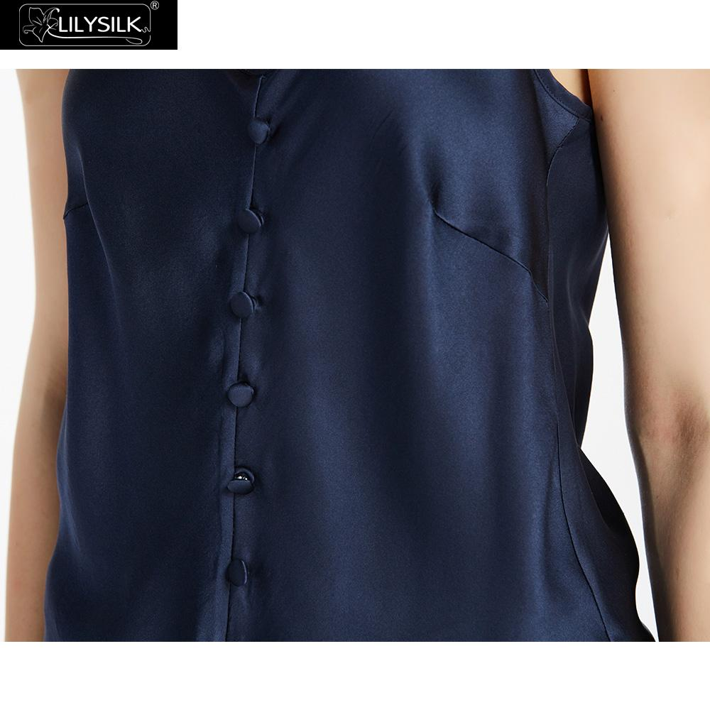 8c3943a4120a0 Aliexpress.com   Buy LilySilk Camisole Top Women Silk 22 momme Wrapped  Button Soft Comfortable Basic Lingerie for Ladies Navy Blue Free Shipping  from ...