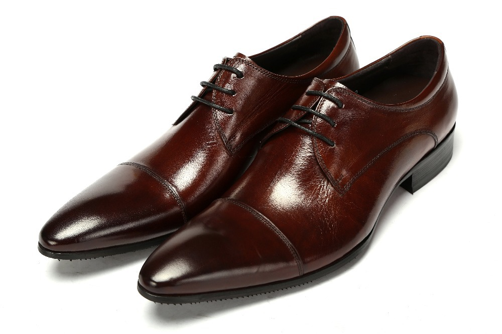 High quality black brown tan pointed toe mens business shoes genuine leather oxfords dress shoes wedding
