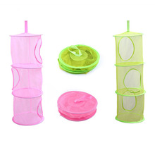 3 Layers Creative Folding Color mesh Hanging Basket Multilayer Cylindrical Storage Organizer To Make Childrens Toys Hom