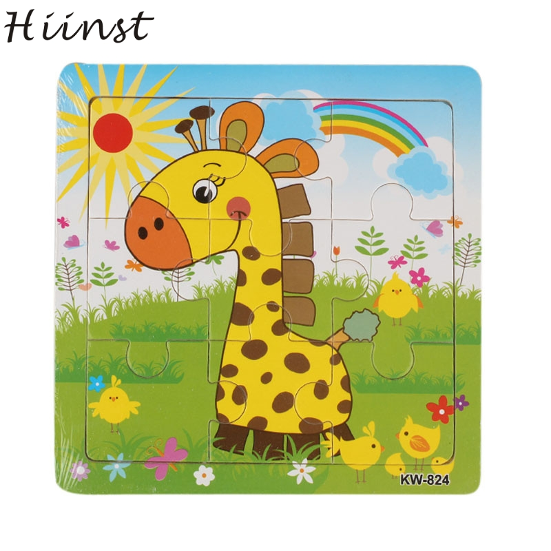 HIINST toys kids 2017 Wooden Giraffe Jigsaw Toys For Kids Education And Learning Puzzles Toy wholesale*R Drop