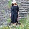 Vestido de las mujeres 2016 de Primavera y Verano de Algodón de Lino Más El Tamaño de Manga Larga de Las Mujeres del Traje de la Alta Baja Hem Vestido Maxi Vestidos de Fiesta