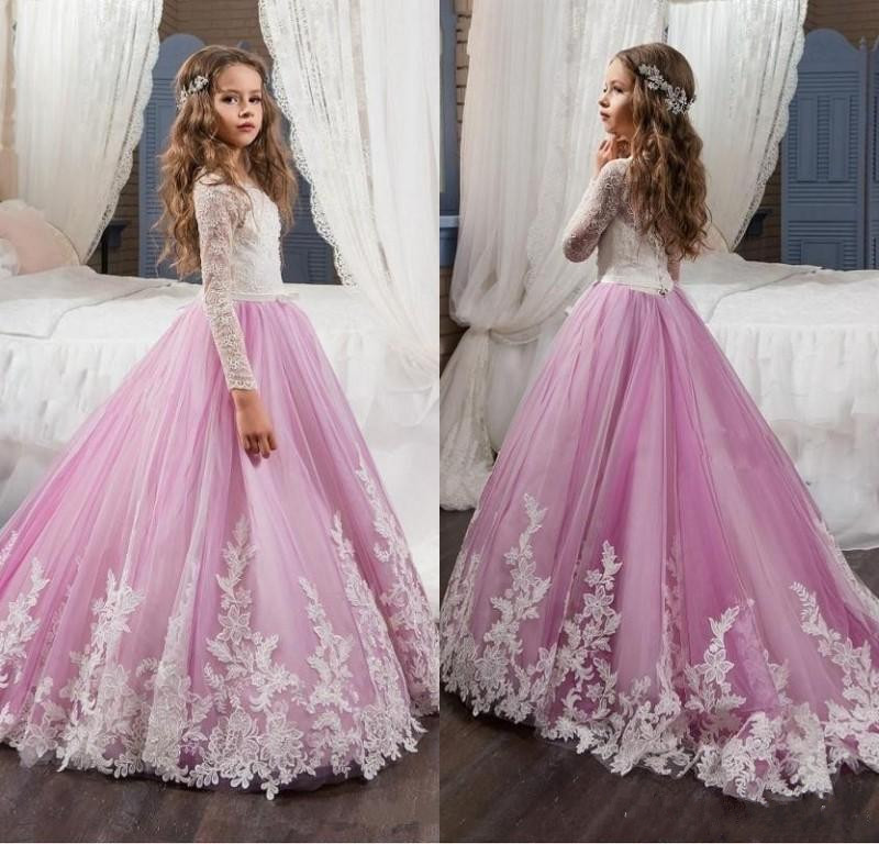 Lovely Lace   Flower     Girls     Dresses   For Weddings Pink Long Sleeves A Line Long Sleeves Pageant   Dresses   for   Girls   Kids Prom Gowns