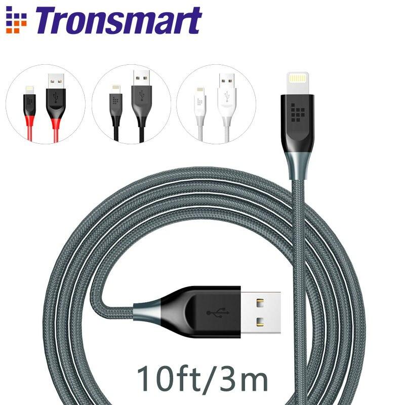 imágenes para 3 m/10ft Tronsmart Cable Relámpago para el iphone 5 \ 5S \ 6 \ 6 Plus \ 6S \ 6 S Plus \ 7 \ \ SE 7Plus 19AWG de Nylon Trenzado Doble [Imf Certificada]