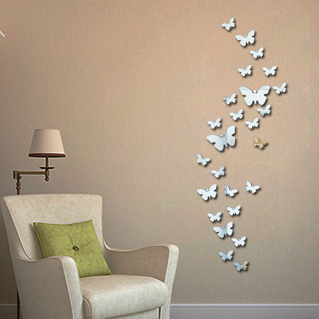 wall stickers new 30pcs decorative vinyl 3d butterfly wall decor poster vintage wallpaper mirror wall stiker - Mirror Wall Decor