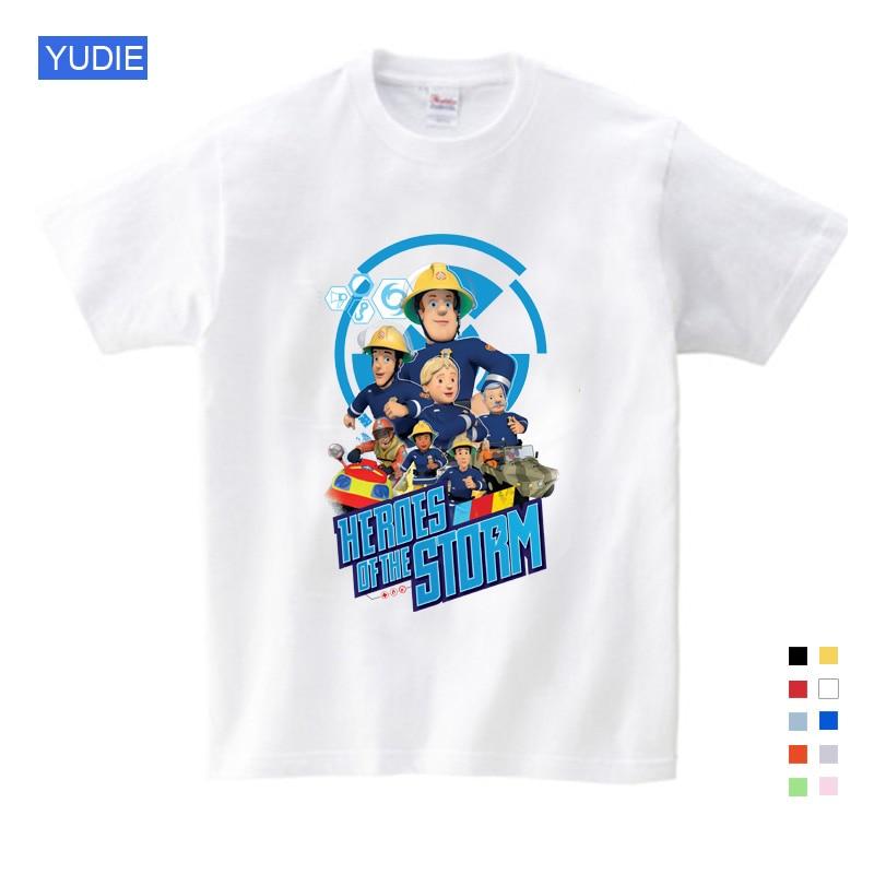 Fireman Sam crianças Dos Desenhos Animados Impressão de Algodão e T-shirts para Azul Localizado Da Menina T-shirt de Manga Curta Tops Vestuário infantil