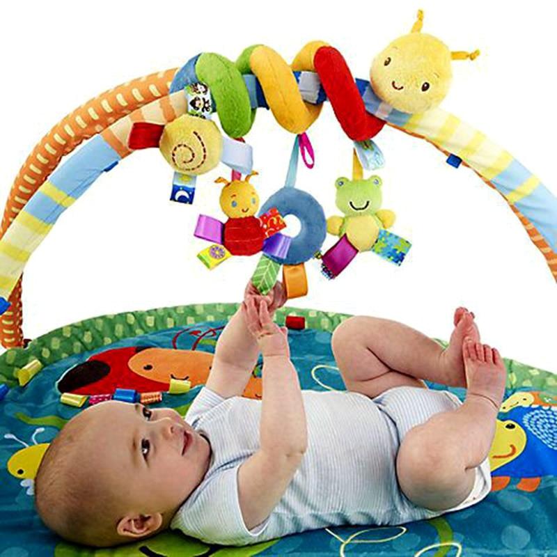 Baby Mobile Crib Music Toy Kid Crib Cot Pram Ringing Bed Bells Spiral Rattles Toys AN88