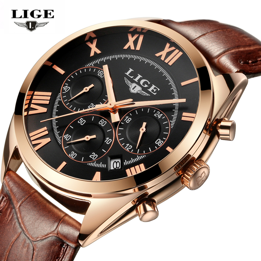 Relojes Hombre LIGE Watch Men Top Luxury Brand Men's Business Quartz-watch Sport Casual Clock Men WristWatches Relogio Masculino