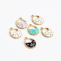 Wholesale New Enamel Alloy Handbag Charms Gold Color Plated Oil Drop Fashion Women Round Hollow Out