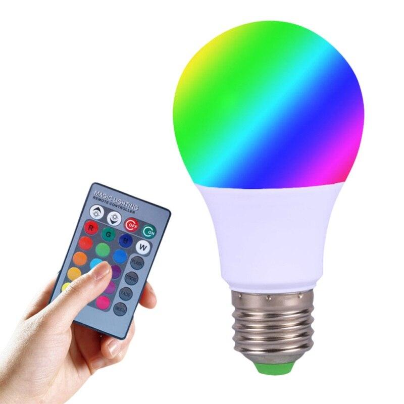 3 Вт/5 Вт E27 RGB светодиодные лампы высокой Мощность RGB Светодиодная лампа 220 В 110 В лампада LED 16 Цвет 24 ключ Дистанционное управление ...