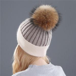 Image 4 - Xthree zimowa wełniana czapka z dzianiny czapka prawdziwa norka futro pompony czapka z czaszkami dla kobiet dziewczynki kapelusz feminino