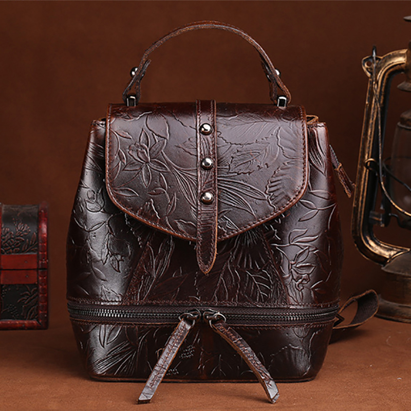 Famous Brand Oil Wax Cowhide Genuine Leather Women Backpack Floral Embossed Female Daypack Casual Travel Rucksack School Bag New real cowhide genuine leather backpack women s bag vintage designer girls travel school bags famous brand female laptop rucksack