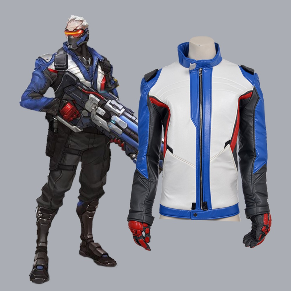 OW Soldier 76 cosplay costume adult Halloween costume for men Soldier 76 leather jacket Full Set Outfit Custom Made