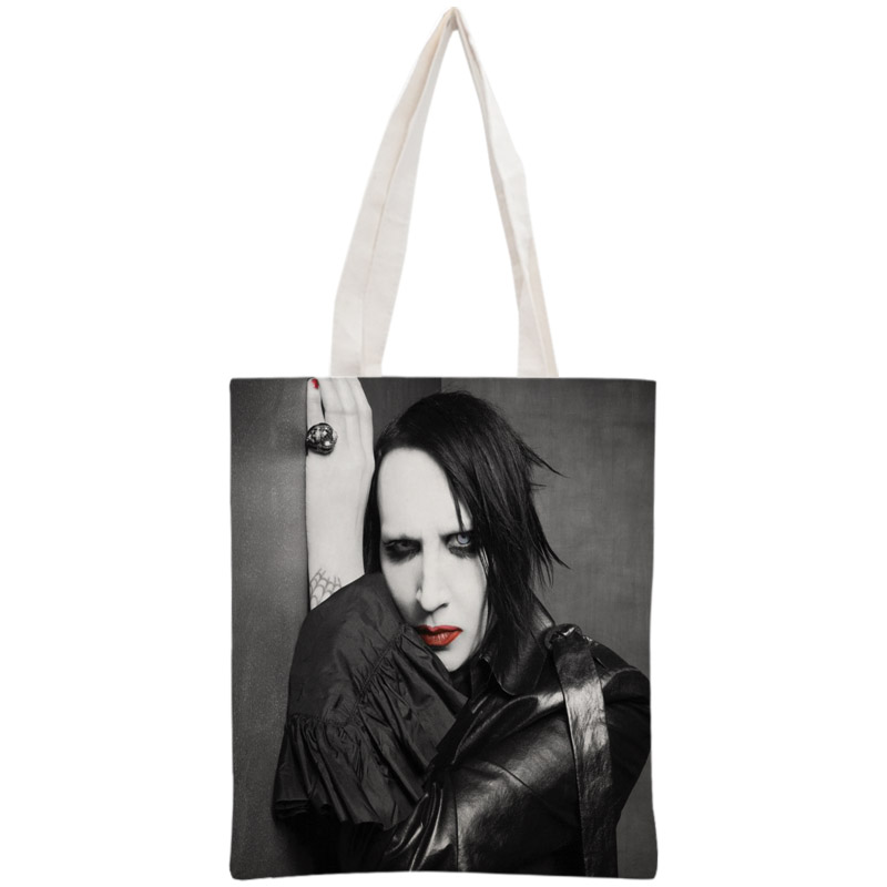 Custom Marilyn Manson Tote Bag Reusable Handbag Women Shoulder Foldable Canvas Shopping Bags Customize Your Image
