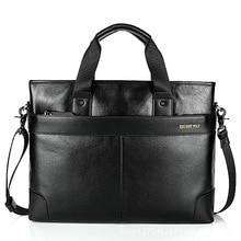Tactical Hand Bag Fashion Top Layer Cowhide Male Briefcase Designer Black Brown Casual Large Shoulder Bag Men Simple Work Bag цена