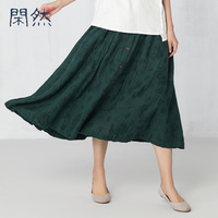 XianRan Spring Womens Long Skirts Fashion A Line Cotton Linen Fold High Quality Free Shipping Hit