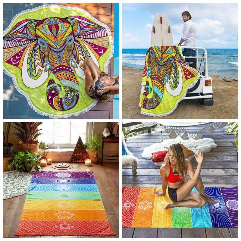 Wall Hanging Mandala Blanket Elephant Tapestry Rainbow Stripes Travel Summer Tapestry For Home Living Room Travel Camping 2018