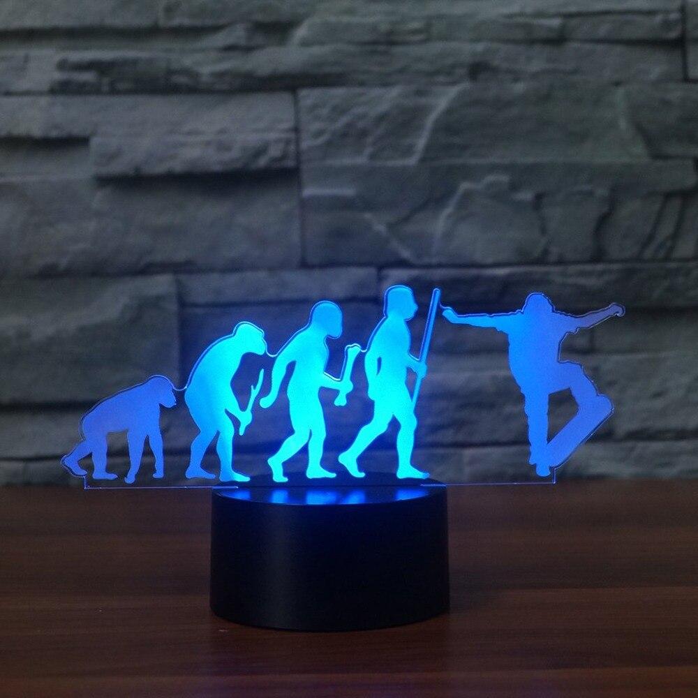 Schlafzimmer Dekor FÜhrte 3d Visuelle 7 Farben Skateboard Menschlichen Evolution Modellierung Tischlampe Usb Sport Geschenke Nachtlicht Schlaf Beleuchtung