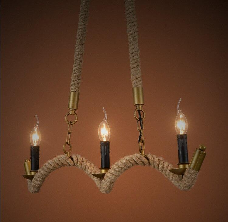 Hemp Rope 3 Bulbs  E14 Tom Instrument Pendant Light Small Vintage Restaurant Lamp Bar Pendant Lamps For Wholesale Supplier