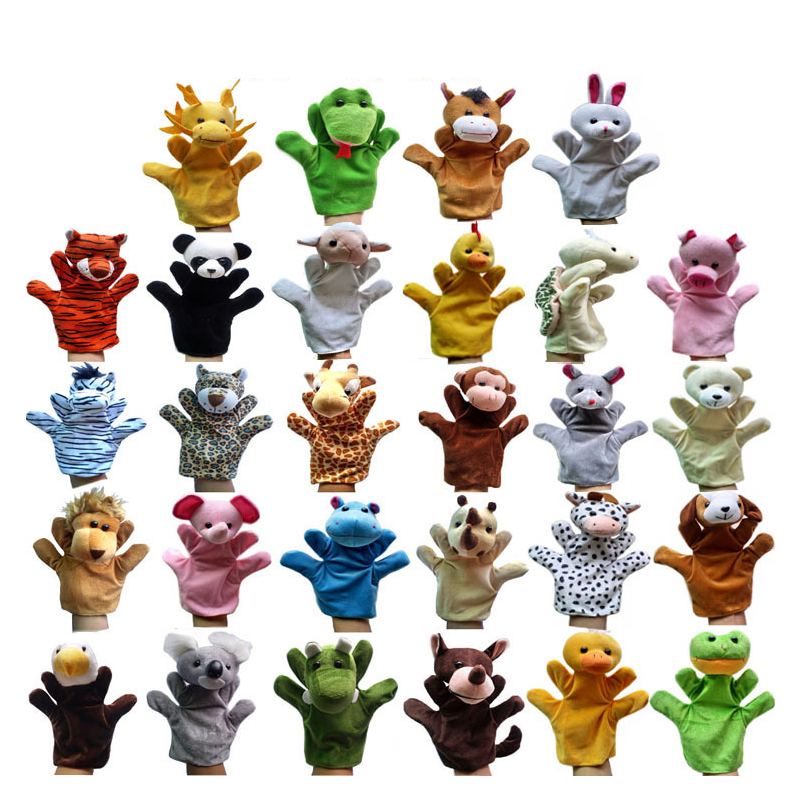 Hand Puppet Animal Plush Toys For Babies Animals Puppet Panda Giraffe Turtle Dragon Bunny Monkey Parent Child Interactive Toys