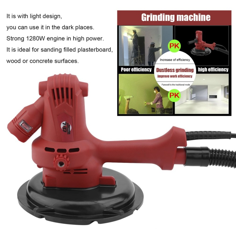 Electric Multifunctional No Dead Angles Sandpaper Dry Wall Sander Ceiling Grinder Grinding Machine With Light EU Plug Power Tool цены