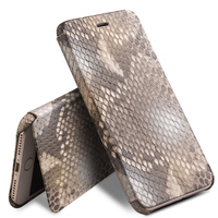 QIALINO Genuine Leather Fashion Flip Case for iPhone 8 Custom built Python Skin Phone Cover for iPhone 8 plus for 4.7/5.5 inch