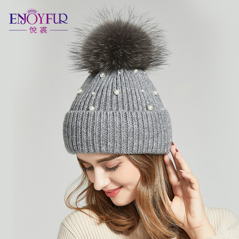 7ae050a4e ENJOYFUR Winter Real Fur Pompom Hats For Women Warm Knitted Wool Cap With  Pearl 2018 New Fashion Lady Beanies