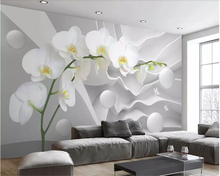 Wall mural wallpaper 3d three dimensional layered space butterfly orchid ball TV backdrop large HD photo mural wallpaper все цены