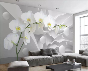 Beibehang Custom large space butterfly orchid ball photo wallpaper 3D living room bedroom TV background wall wallpaper murals цена 2017