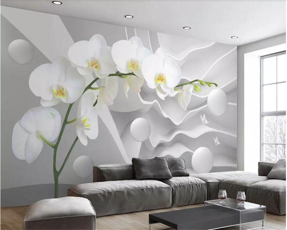 US $9.0 40% di SCONTO Beibehang di grandi dimensioni Personalizzato spazio  farfalla orchidea palla foto carta da parati 3D soggiorno camera da letto  ...