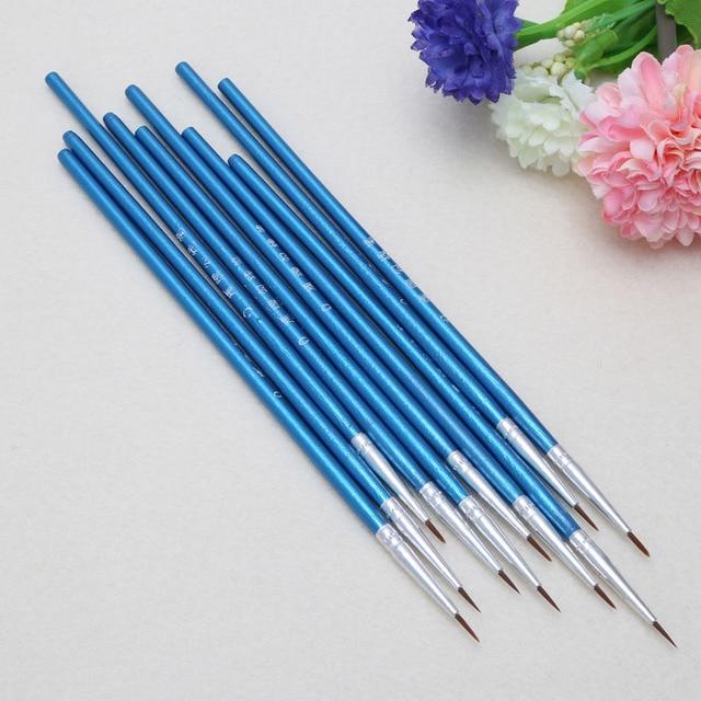 10pcs/set Nylon Hair Brush Hook Line Pen Artist Watercolor Acrylic Painting Oil Painting Brush Set Art -W210