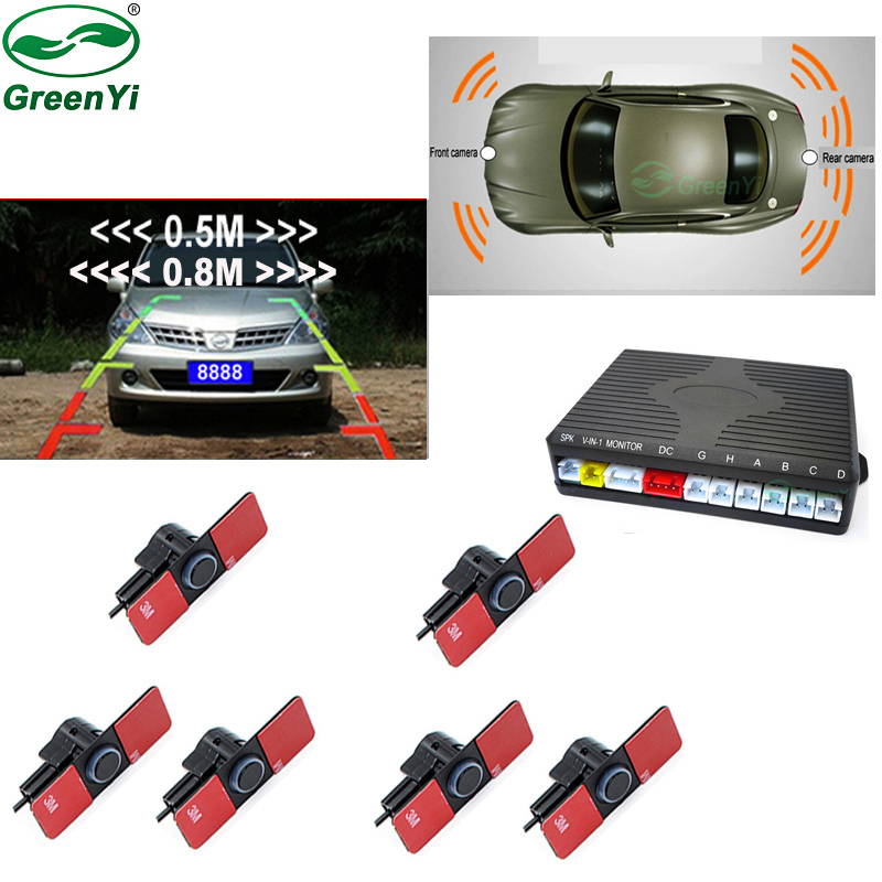 1bf20e2f6e1 Detail Feedback Questions about Dual Channel Car Video Parking Radar Sensor  Front Rear 6 Flat Sensors 2 Video Input For Car Parking Camera Monitor  Android ...