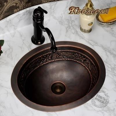 Tous cuivre bassin artistique stade rétro à la main circulaire salle de bains évier W21