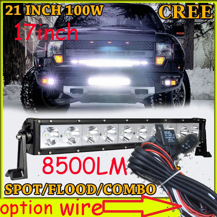 Free DHL/UPS/FEDEX ship! 100W,8500LM,,10~30V,6500K,LED working bar;led offroad bar,Option wire harness,SUV,LED bar light