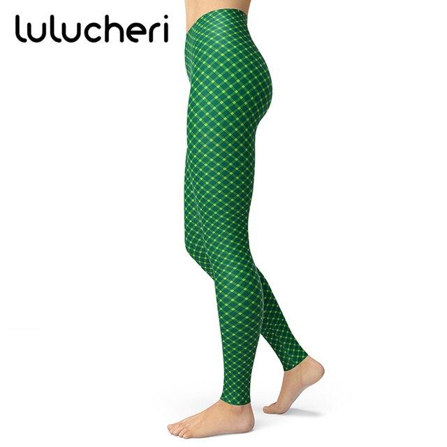 23c6d6b065763 New St Patrick's Day Pattern Printing Leggings Women Green Four Leaf Clover  Luck Pants Party Irish Elastic Fitness Slim Leggins