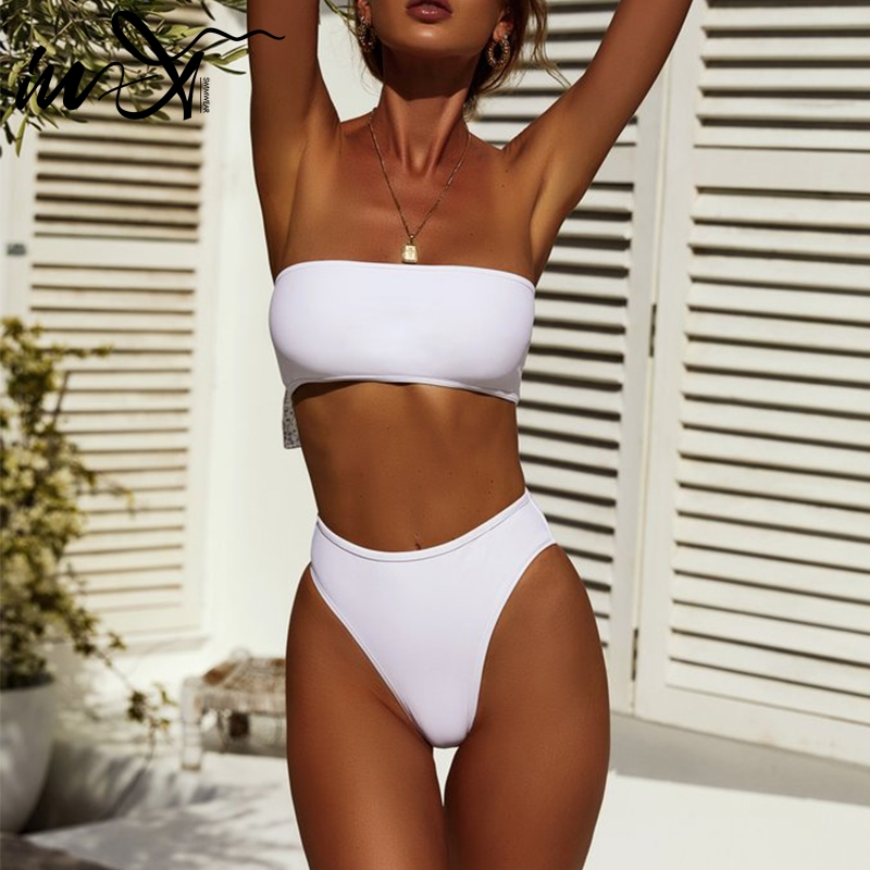 In-X High waisted bathing suits Bandeau brazilian bikini 2019 Sexy micro swimwear women bathers White swimsuit Summer biquini XL