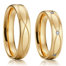 ladies Vintage jewellery alliances wedding rings for women Rose/yellow gold color valentine eternity engagement couple ring set(China)