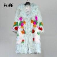 Pudi CT806 2018 Новая мода женские из натурального меха енота вязать теплая куртка для девочек зимние куртки Свитера светло голубой цвет красочны