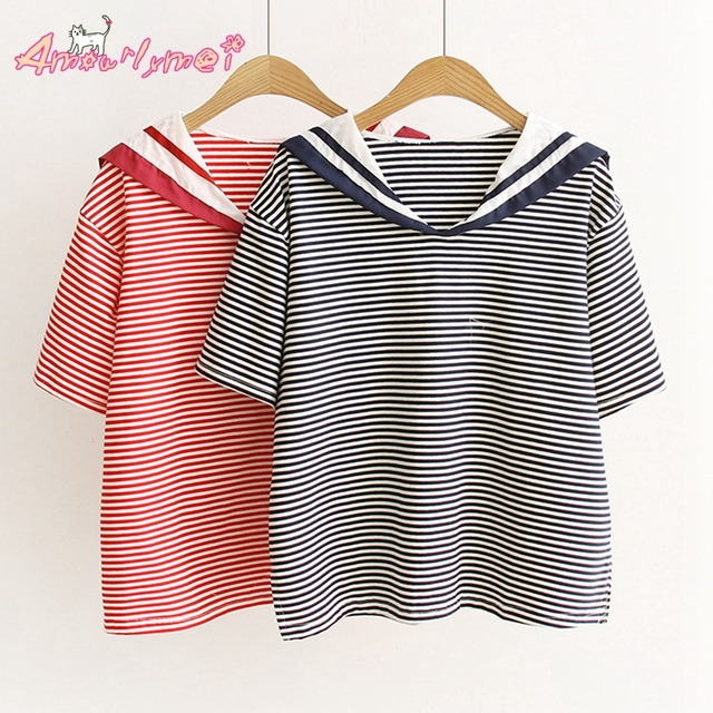 new photos cost charm latest design US $18.8 |2017 Summer New Women Cotton Sailor Collar Casual Loose Short  Sleeve Striped T shirt Cute Japanese Style Mori Girl T shirt Tops-in  T-Shirts ...